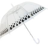 Damen Regenschirm durchsichtig transparent mit Automatik - Tropfen