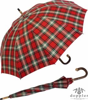 Doppler Manufaktur Herren Regenschirm Kastanie Schirm - Karo rot