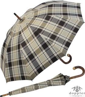 Doppler Manufaktur Herren Regenschirm Kastanie Schirm - Karo grau braun