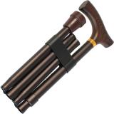 Gastrock Gehstock Faltstock mit Fritzgriff aus Holz höhenverstellbar, bronze matt