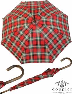 Doppler Manufaktur Regenschirm Kastanie Stützschirm - Karo rot