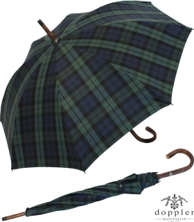 Doppler Manufaktur Regenschirm Kastanie Stützschirm Karo blau grün