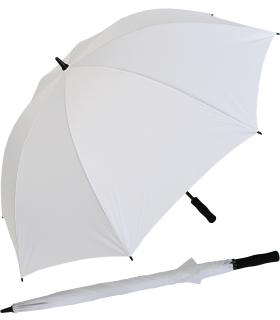 iX-brella Full-Fiber Golfschirm XXL 130cm leicht sturmfest mit Softgriff weiß