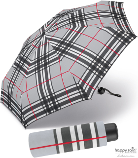Ultra Mini Taschenschirm Petito klein leicht windfest - checks light grey