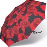 Taschenschirm Damen Auf-Zu Automatik Easymatic leicht stabil windfest - red rose