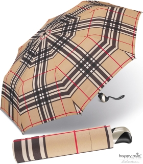 Taschenschirm Auf-Zu Automatik Easymatic leicht stabil windfest - checks camel