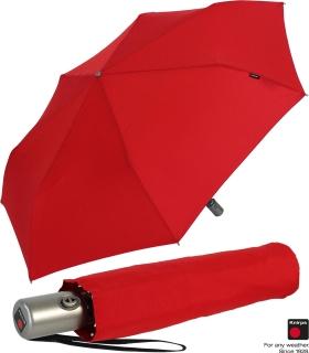 Knirps Regenschirm Slim Duomatic - klein und leicht mit Auf-Zu Automatik - red