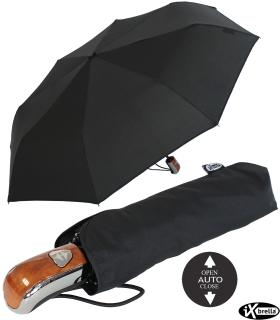 """iX-brella first class """"Black Edition"""" edler stabiler Taschenschirm mit Auf-Zu-Automatik - groß-stabil-sturmfest - schwarz"""