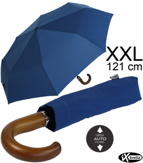 iX-brella - Herrenschirm XXL 121 cm mit echtem Holzgriff und Auf-Zu-Automatik navy-blau