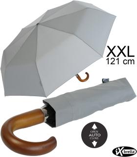 iX-brella - Herrenschirm XXL 121 cm mit echtem Holzgriff und Auf-Zu-Automatik business-grau