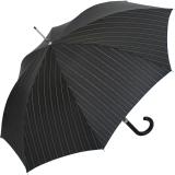 Doppler Manufaktur Herren Stockschirm Diplomat schwarz Nadelstreifen - Griff schwarz