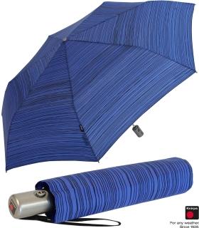Knirps Regenschirm Slim Duomatic - klein und leicht mit Auf-Zu Automatik - Funky Stripes blue