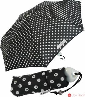 Mini Taschenschirm Damen Joy Heart klein leicht Punkte dots - black - white dots