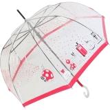 Stockschirm transparent Damen Automatik Joy Heart - Parfum - pink