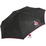 Mini Taschenschirm Damen Joy Heart klein leicht Parfum - schwarz-pink