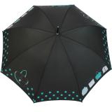 Stockschirm Damen mit Automatik Joy Heart - purse Handtasche - schwarz-türkis