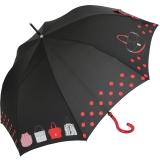 Stockschirm Damen mit Automatik Joy Heart - purse Handtasche - schwarz-rot