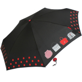 Mini Taschenschirm Damen Joy Heart klein leicht - purse Handtasche - schwarz-rot