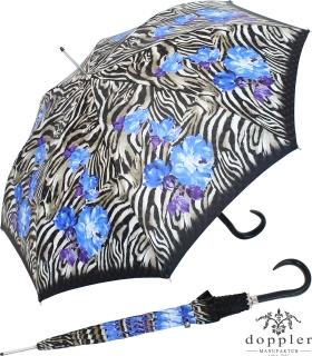 Doppler Manufaktur Regenschirm Stockschirm VIP Damen Elegance - wild roses blue