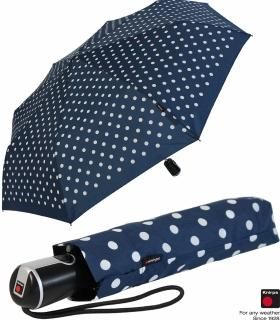 Knirps Regenschirm Taschenschirm Large Duomatic Polka Dots - navy-white
