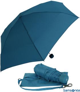 Samsonite Regenschirm Super Mini Taschenschirm mit Tasche Minipli Colori - blau