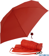 Samsonite Regenschirm Super Mini Taschenschirm mit Tasche Minipli Colori - rot