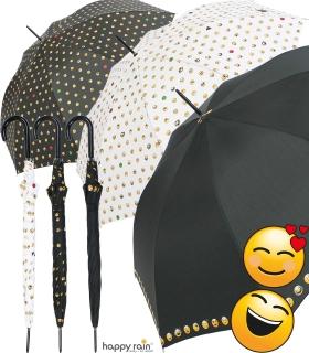 Emoticon Stockschirm groß stabil mit Automatik smile bedruckt