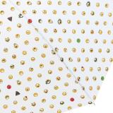 Emoticon Stockschirm groß stabil mit Automatik smile bedruckt - white-allover