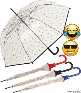 Emoticon Regenschirm durchsichtig transparent mit Automatik smile bedruckt