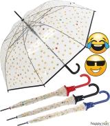 Emoticon Regenschirm durchsichtig transparent mit...