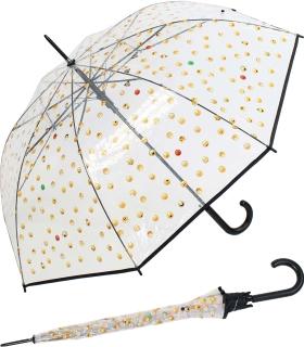 Emoticon Regenschirm durchsichtig transparent mit Automatik smile bedruckt - schwarz