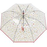 Emoticon Regenschirm durchsichtig transparent mit Automatik smile bedruckt - rot