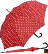 Knirps Stockschirm Damen Automatik polka dots - red-white