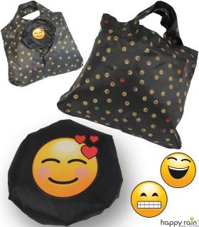 Emoticon Shopper-Bag - Faltshopper - wiederverwendbare Einkaufstasche lustig bedruckt - hearts