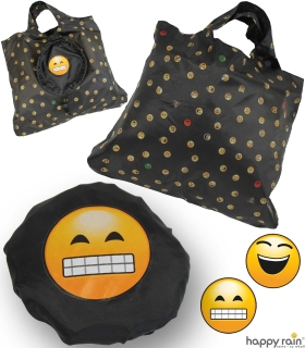 Emoticon Shopper-Bag - Faltshopper - wiederverwendbare Einkaufstasche lustig bedruckt - grin