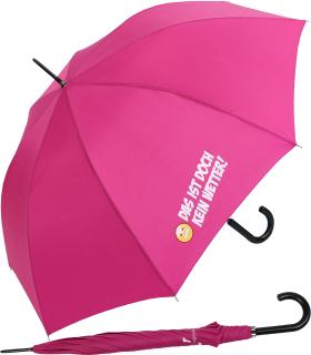 """Stockschirm für Damen und Herren mit Automatik - bedruckt """"Das ist doch kein Wetter!"""" - pink"""