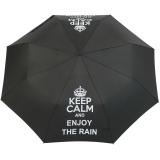 """Mini Taschenschirm stabil Auf-Automatik - bedruckt """"Keep Calm"""" - schwarz"""