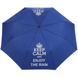 "Mini Taschenschirm stabil Auf-Automatik - bedruckt ""Keep Calm"" - royal-blau"