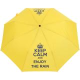 """Mini Taschenschirm stabil Auf-Automatik - bedruckt """"Keep Calm"""" - gelb"""