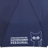 """Mini Taschenschirm stabil Auf-Automatik bedruckt  """"Katzen haben Personal..."""" - navy-blau"""