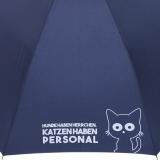 """Stockschirm für Damen und Herren mit Automatik - bedruckt """"Katzen haben Personal..."""" - navy-blau"""