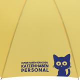 """Stockschirm für Damen und Herren mit Automatik - bedruckt """"Katzen haben Personal..."""" - gelb"""