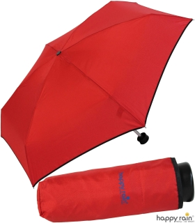 Ultra Mini Taschenschirm Damen Regenschirm Uni - rot