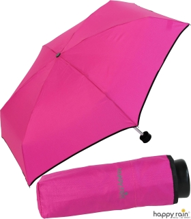 Ultra Mini Taschenschirm Damen Regenschirm Uni - pink