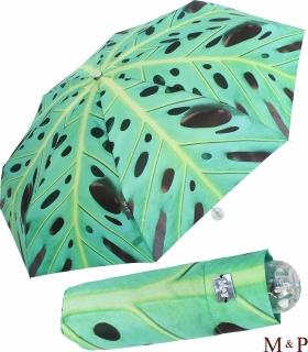 M&P Super-Mini Damen Taschenschirm Regenschirm Fotografico - Philodendron