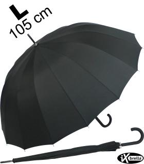 iX-brella Stockschirm 16teilig full-fiber mit Automatik - super stabil - 105 cm black