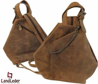 LandLeder Old-School Leder Rucksack Citytasche braun