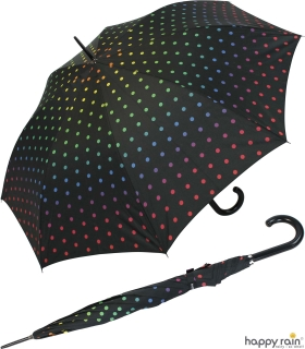 Stockschirm groß stabil mit Automatik  schwarz  bedruckt - rainbow dots