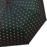 Taschenschirm stabil mit Automatik  schwarz bedruckt - rainbow dots