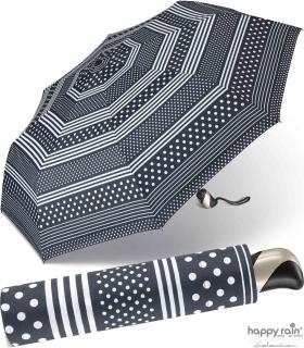 Taschenschirm Damen Auf-Zu Automatik Easymatic leicht stabil windfest - polka dots